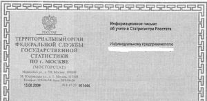 Информационное письмо об учете в статрегистре росстата и приложения к информационному письму с расшифровкой кодов статистики