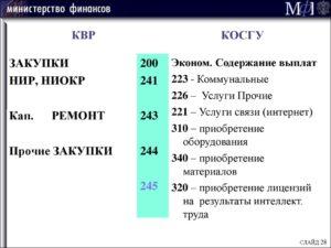 Косгу 225 расшифровка в 2020 году для бюджетных учреждений