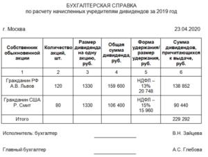 Выплата дивидентов из кассы 2020 г