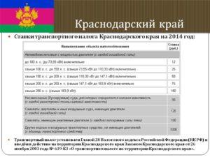 2020 год налоговая ставка для краснодарского края транспортные средства