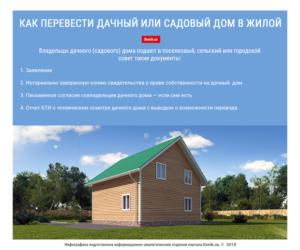 Перевод жилого строения в снт в жилой дом