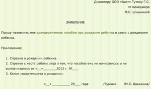 Образец заявления на пособие по рождению ребенка с2020года