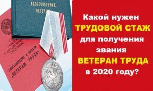 Как оформить по стжу ветеран труда в москве 2020 без наград