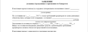 Заявление о признании должника физ лицо банкротом образец 2020